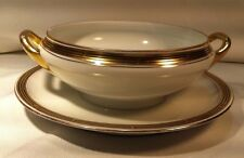 Pickard China Thomas Gravy Boat Under-plate 24 K Gold Trim Art Deco Greek Key