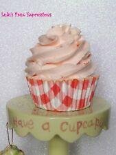 Faux Cupcakes Fake Food Peach in Plaid