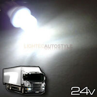 2x 24 VOLT 24V LED 501 T10 W5W XENON WHITE TRUCK SIDELIGHT BULBS CONCAVE 6000K