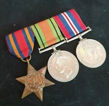 Mounted Full Sized World War Two Burma Star, 1939-45 Defence & 1939-45 Medal Bar