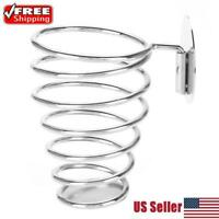 Wall Mounted Hair Dryer Holder Rack Stainless Steel Vacuum Suction Hook Stand US