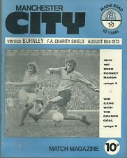 More details for manchester city v burnley f.a charity shield 1973 matchday programme with token