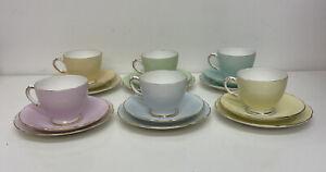 Beautiful Rare Delphine China Harlequin Pastel Trio Tea Set Pink Blue Green B43