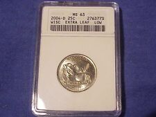 """2004 D Wisconsin Extra Low Leaf Quarter Graded ANACS MS 63 Errors """"Old Holder"""