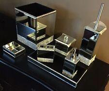 BELLA LUX 7pc Mirrored Rhinestone Crystal BATHROOM Accessory Set NWT