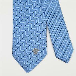 VERSACE TIE Medusa on Blue Striped Skinny Woven Silk Necktie