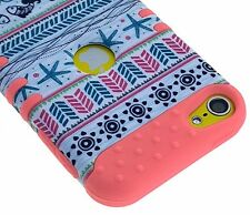 For iPod Touch 5th 6th Gen Star fish Sun Tribal Coral Pink Rubber Hybrid Case
