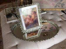 SHABBY ANTIQUE VTG Barbola Vanity Rose Swag Perfume Tray Photo Frame Metal