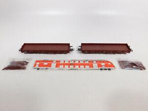 CO317-0,5# 2x Roco H0/DC Rungenwagen (aus 44022), 2 Kleinstteile abgebrochen