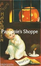 Fabric Block Halloween Vintage Postcard Image Jack O Lantern Pumpkin Candle Boy