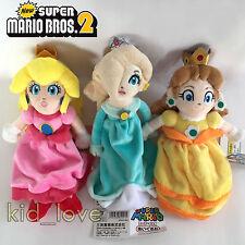 "3X Super Mario Bros. Plush Princess Peach Daisy Rosalina Soft Toy Doll Teddy 9"""