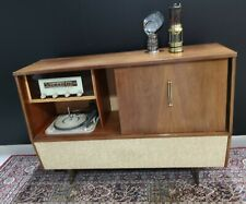 More details for retro record player radio cabinet sideboard 1950's stereo console cocktail bar