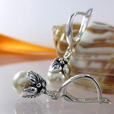 A403 Ohrringe 925 Silber Schmuck mit Swarovski Elements Perlen Jugendstil