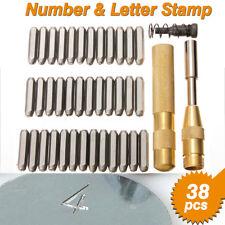 38Pcs 1/8'' Steel Number Letter Metal Punch Set Stamp Automatic Center Alphabet