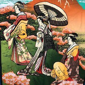VTG Geisha Girl Japanese Throw Blanket Embroidered Asian Mountains Bonsai Trees