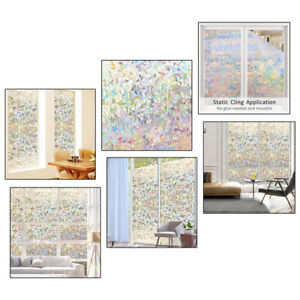 Window Glass Film Glass Colorful Ice flowers Static Cling Sticker Home Décor