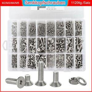 1120-Tlg Senkkopfschrauben Schrauben & Muttern Set M2-M5 Edelstahl Sortiment Set