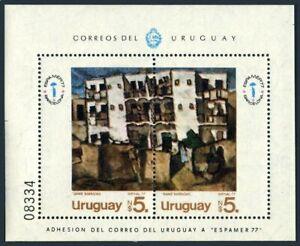 Uruguay 986 ab,MNH.Michel 1470-1471 Bl.36. ESPAMER-1977.View of Sans-Barcelona.