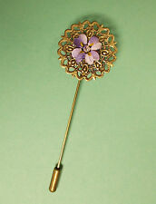 PURPLE FORGET-ME-NOT PIN Bronze Tone Filigree Purple Wedding Lapel HAND PAINTED