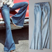 Women Flare Denim Jeans Stretch Slim Pant Mid-Rise Bell Bottom Jeans Trousers SH