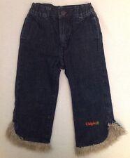 CHIPIE French Boutique Jeans Fur Trim Rainbow Pockets Toddler 104 3/4 Dark Wash