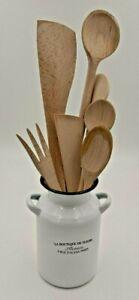 Vase, emailliert, weiß / schwarz  lt. Foto, schöner Behälter für Ihre Kochlöffel