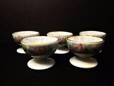 Vintage Lustre Pedestal Salt Cellars Rose Pattern Set of 5