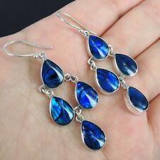 Medium BLUE PAUA ABALONE SHELL & 925 Sterling Silver Chandelier Style Earrings