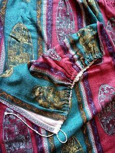 Vintage Chinoiserie Barkcloth Curtains-1950s Oriental Curtains
