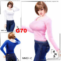 """MM01 1/6 Female Long-sleeve Bottoming Shirt T-shirt Clothes for 12"""" Figure Model"""
