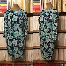 WHISTLES blue green silk multicolour print ruched fitted dress UK 8 / US 4