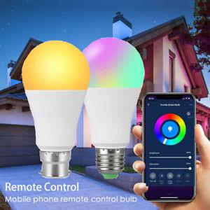 B22 E27 RGB Smart Light Bulb Bluetooth Wireless Dimmable APP Control LED Lamp