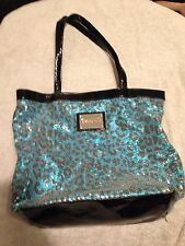 Blue Leopard Betsey Johnson Betseyville Sequined Tote Beach Bag Shoulder Purse