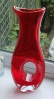 Large red art glass vase