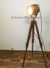 Vintage Industrial Copper Floor Lamp Nautical Tripod Marine Studio Searchlight