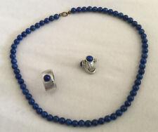 Set Halskette, Ring & Ohrringe aus Edelstein Lapislazuli in Kugelform