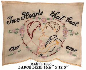 Vtg ANTIQUE 1886 Needlepoint Embroidery Folk Art Finished Heart Love Primitive