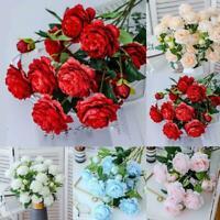 1 Bouquet Artificial Peony Tea Roses Flowers Camellia Home DIY Silk Flowers V0Z1