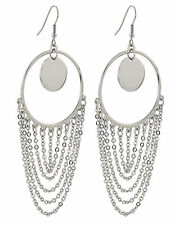Stainless Steel Multi-Chain Dangle Hoop Earring