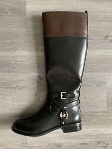 MICHAEL KORS Kincaid Leather Logo Riding Boot Black/ Brown Size 5.5 Retail $250