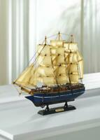 blue Cutty Sark wood SHIP MODEL Sailboat Boat nautical sailing object statue