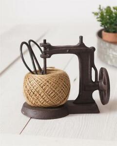 New Antique Vintage Sewing Machine Iron Twine String Holder W/ Jute & Scissors!
