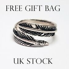 Leaf Feather Antique Silver Adjustable Thick Ring Big Fashion Gift For Her