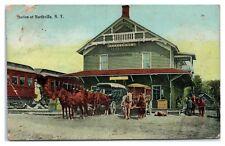 1910 Train Station and Depot, Northville, NY Postcard