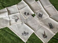 More details for vintage hand embroidered linen napkins london land marks ladder stitched hem