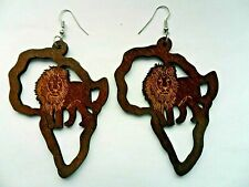 Large  African Map and Lion   Wood  Earrings Ethnic Jewellery Africa