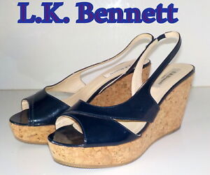"Luxury ""L.K. Bennett"" Navy Blue  Leather Wedge CORK Shoes UK 4 EU 37  £205"