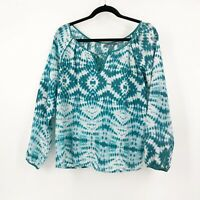 Velvet By Graham & Spencer Tie Dye Blouse Top Size Small 100% Silk Teal White