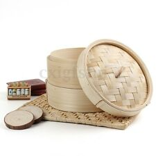 2 Tier 8'' Bamboo Steamer Chinese Dim Sum Basket Rice Pasta Cooker Set with Lid