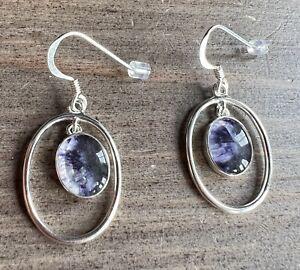 Rare Vintage Style Derbyshire Blue John  Silver Fancy Drop Earrings J2677
